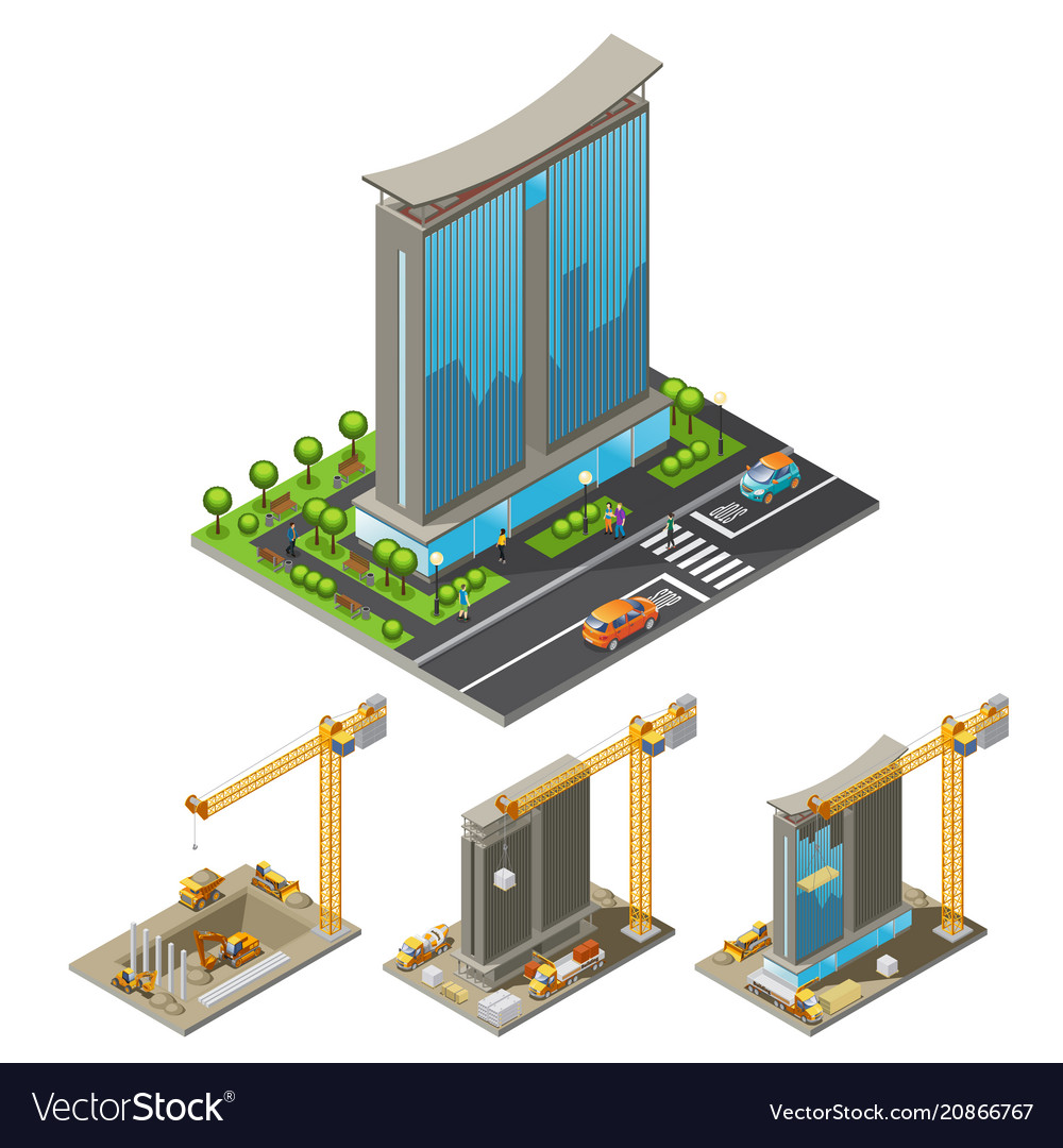 Isometric building construction process concept