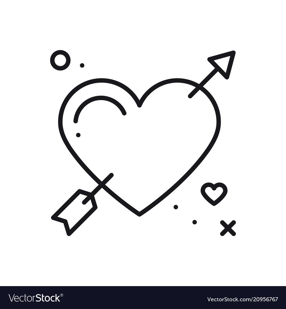 Love line arrow heart icon happy valentine day