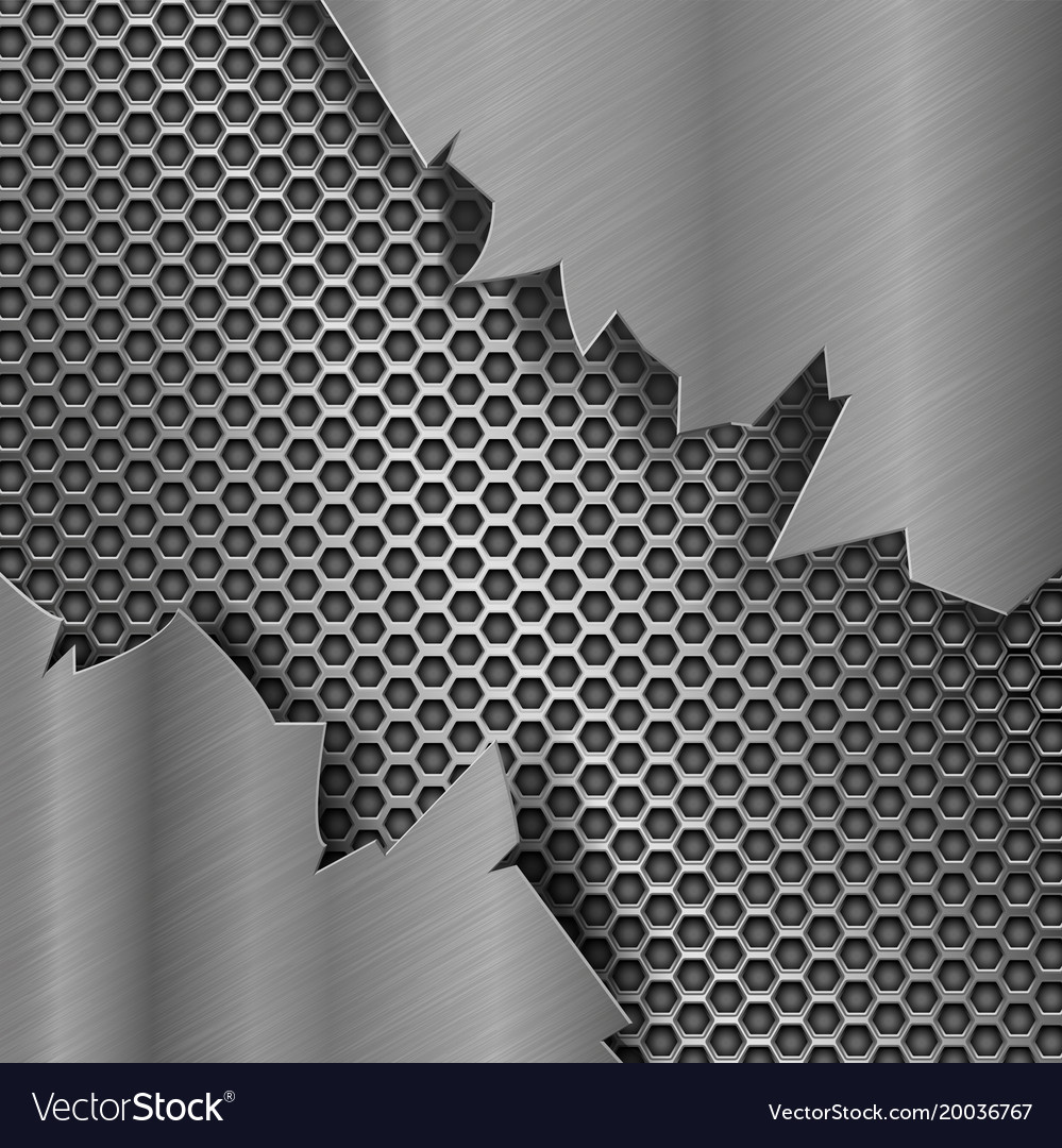 metal perforated background with torn metal edges vector image