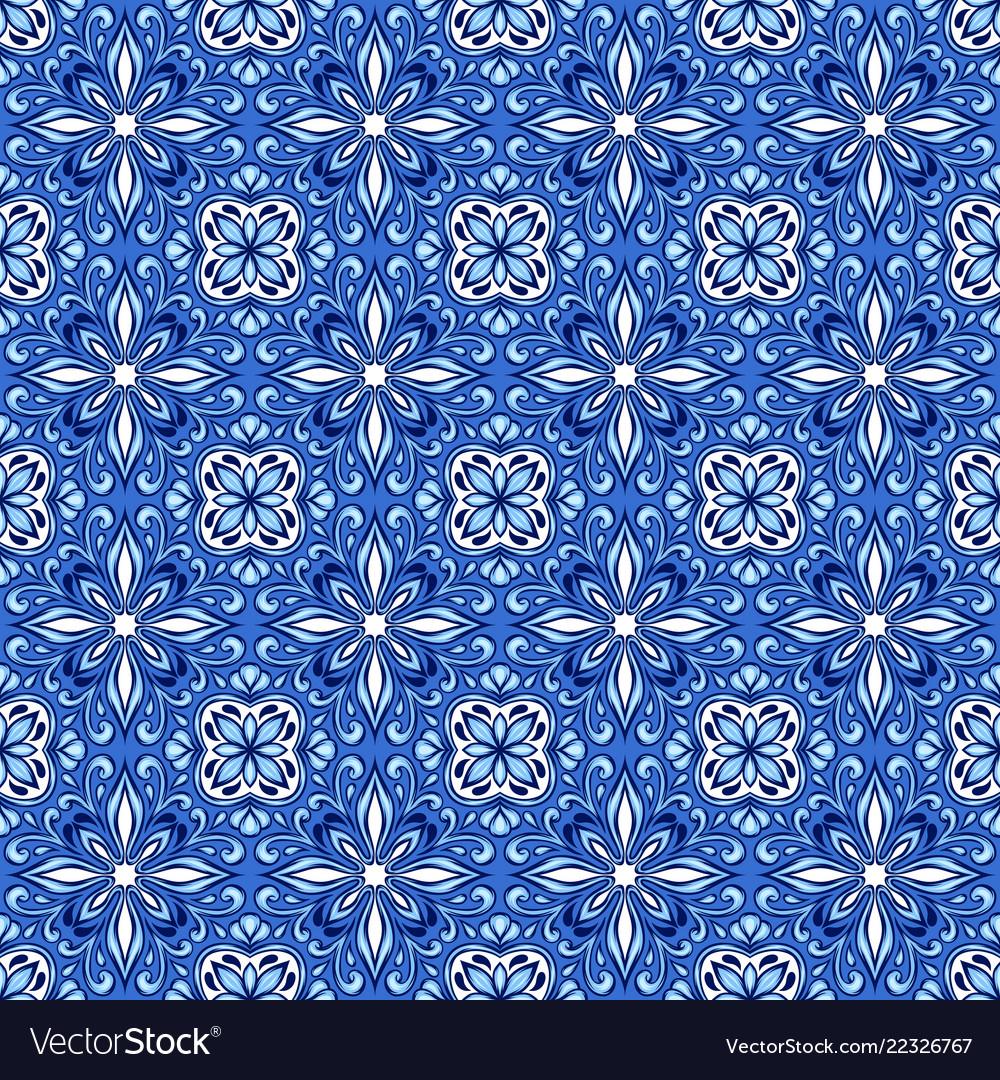 Portuguese azulejo ceramic tile pattern Royalty Free Vector