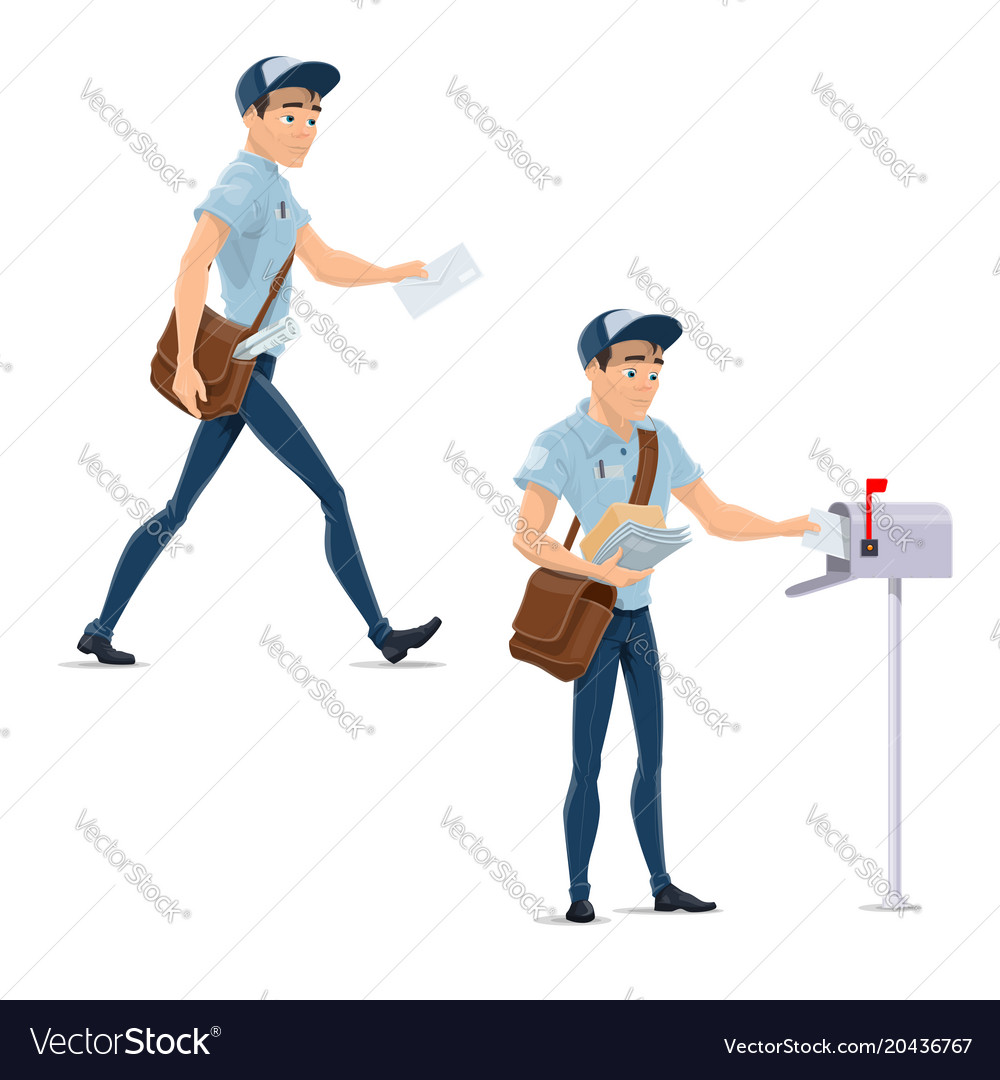 Post mail postman at delivery work icons vector image