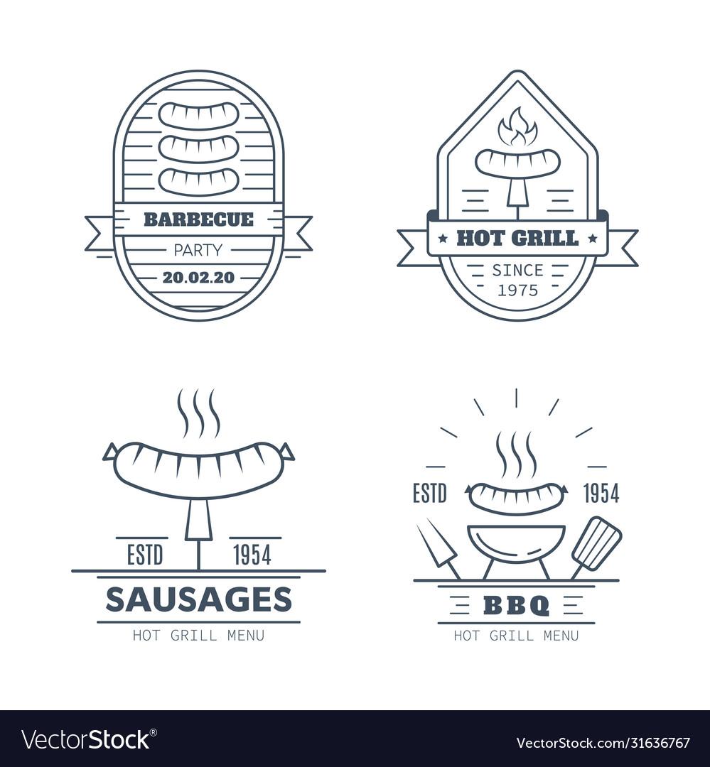 Set barbecue badge designs line art