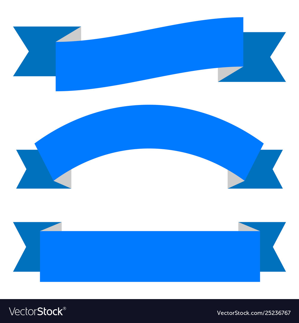 set blue ribbon banner icon royalty free vector image vectorstock
