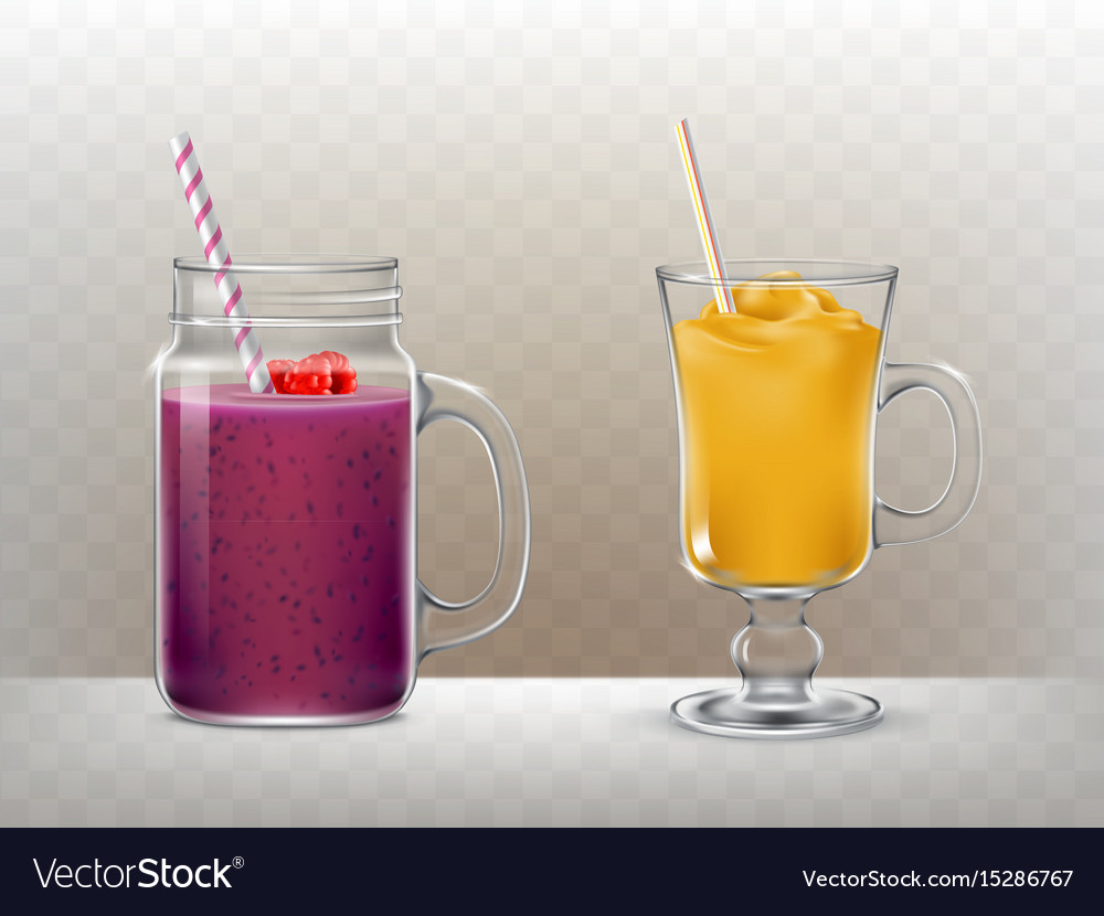 Set of glasses cups for smoothies
