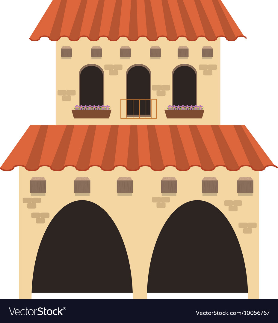 Spanish Colonial Architecture Icon Royalty Free Vector Image