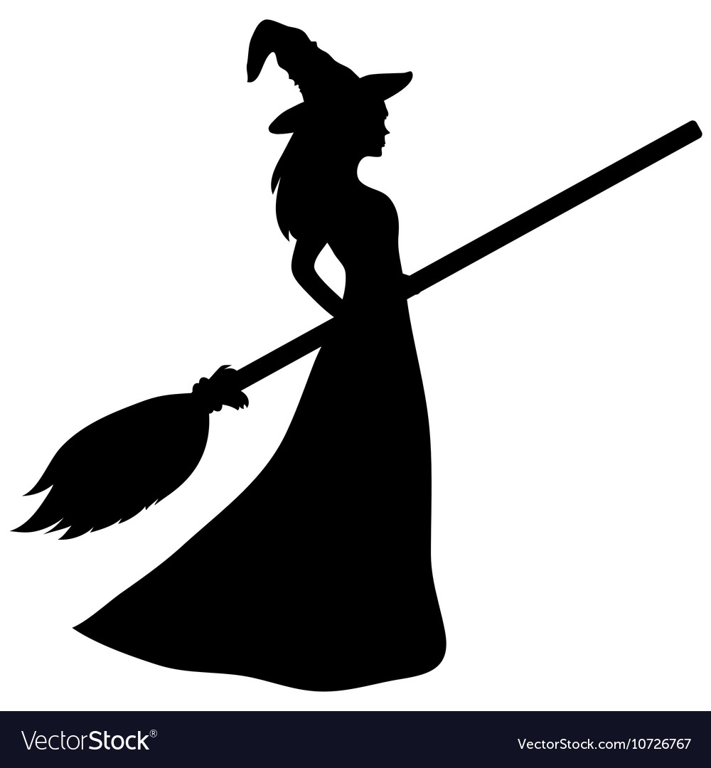 young witch with a broom silhouette royalty free vector