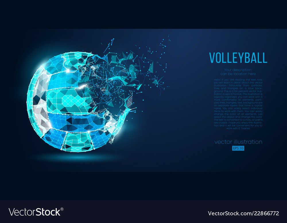 Abstract silhouette of volleyball ball neon