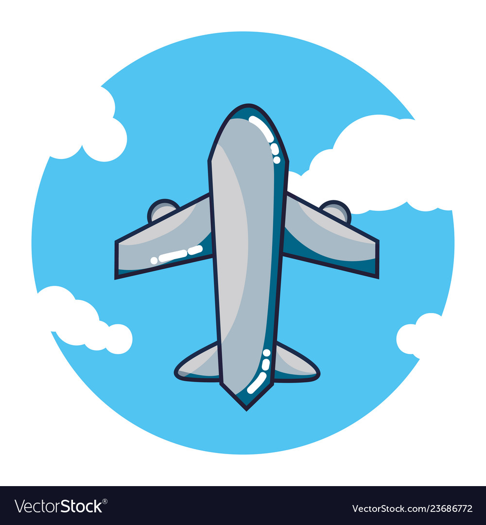 Airplane flying cartoon