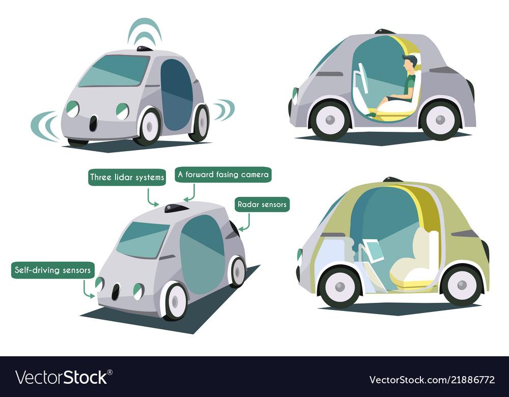 Autonomous smart cars colorful set