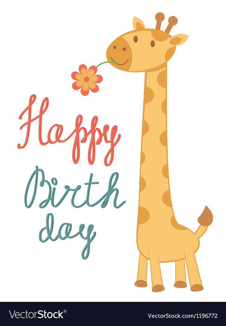 giraffe birthday Birthday card giraffe Royalty Free Vector Image giraffe birthday