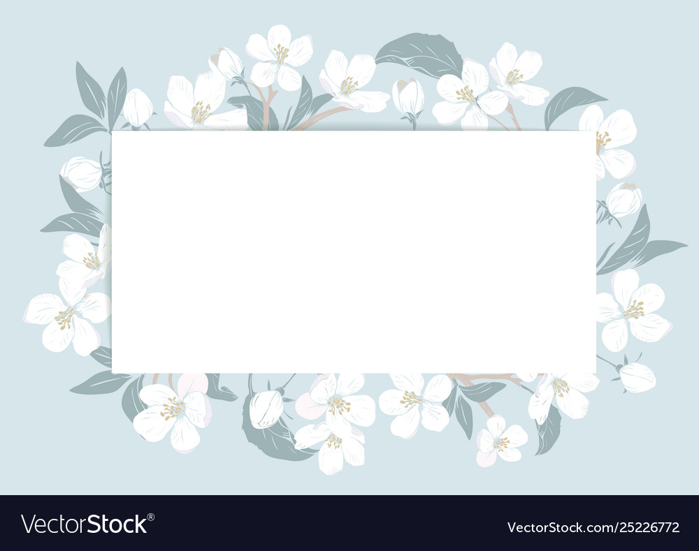 Cherry blossom card template with text floral