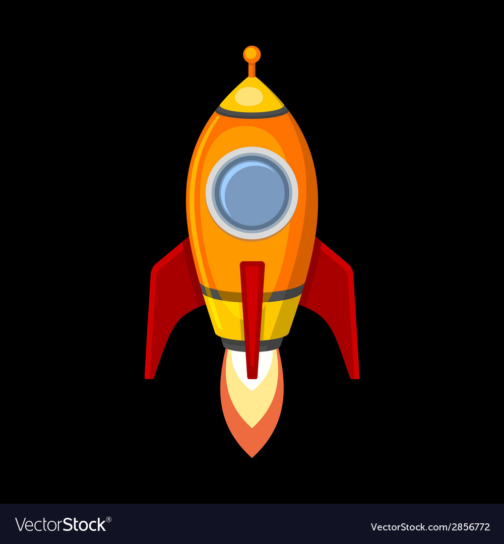 Comic Rocket Ship in Cartoon Style Isolated on