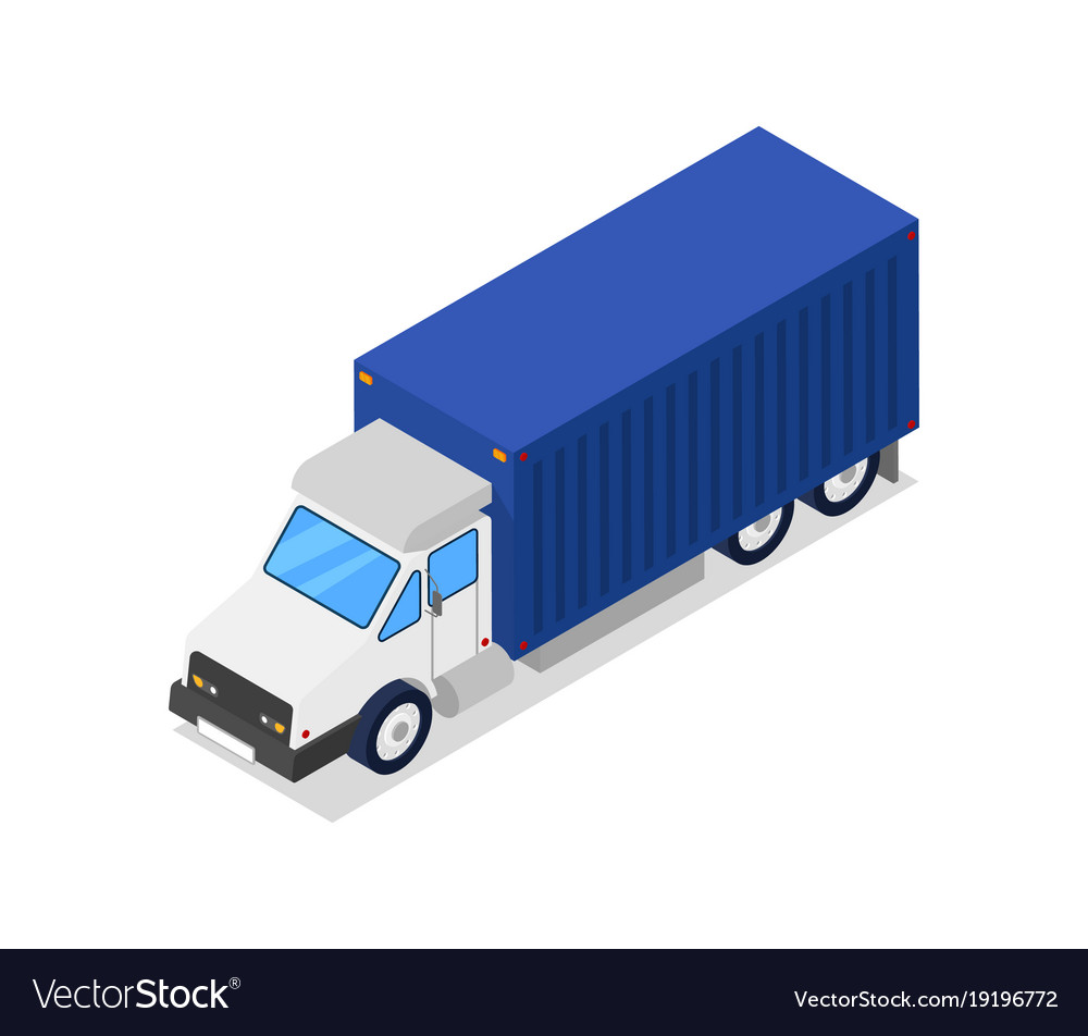 Commercial freight truck isometric 3d icon