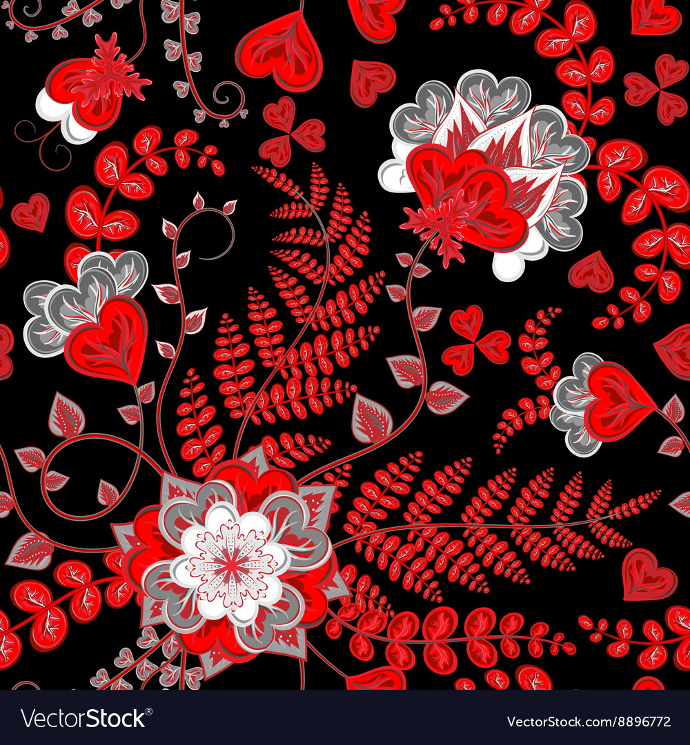 Elegant seamless pattern with red fantasy flowers