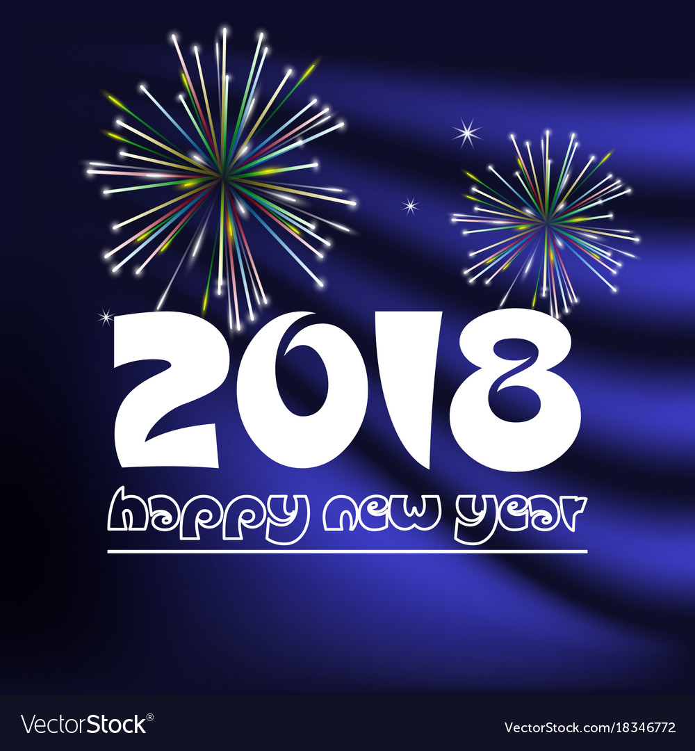 Happy new year 2018 on blue navy abstract color