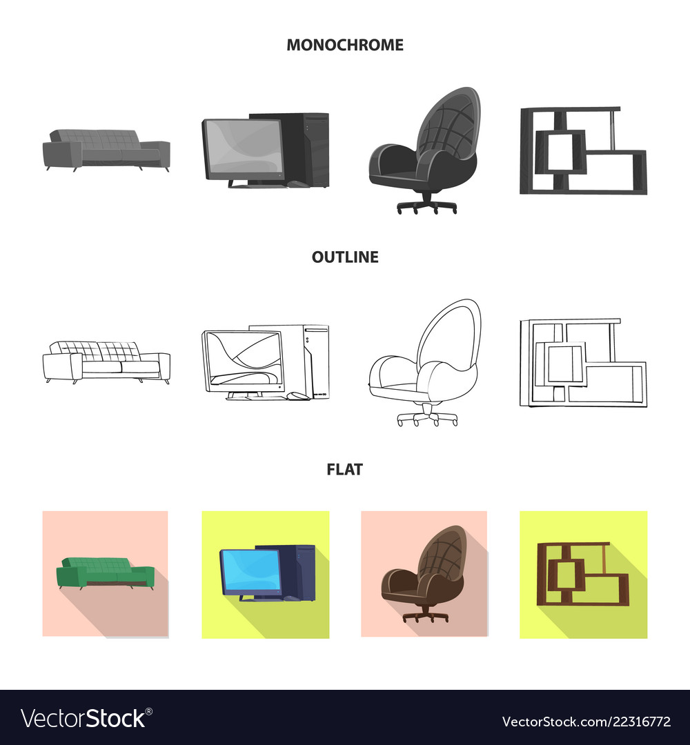 Isolated object of furniture and work logo set of