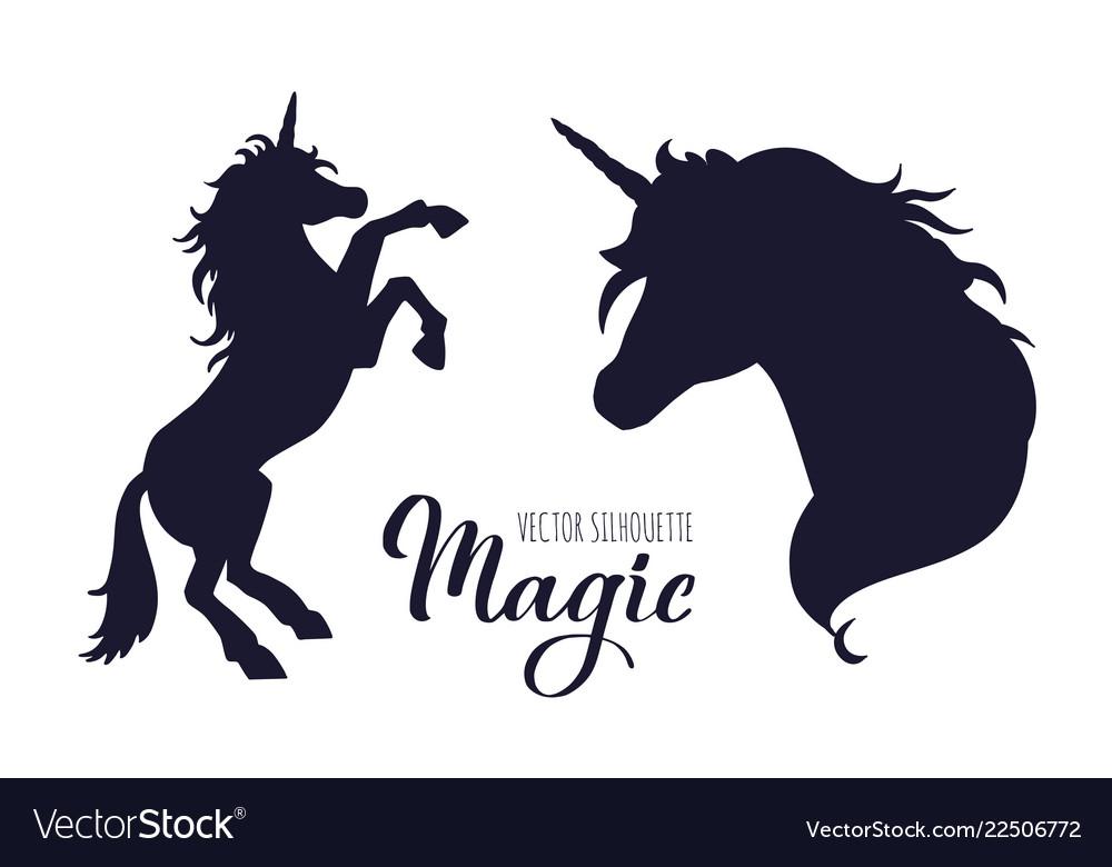 Magic unicorn silhouette collection hand