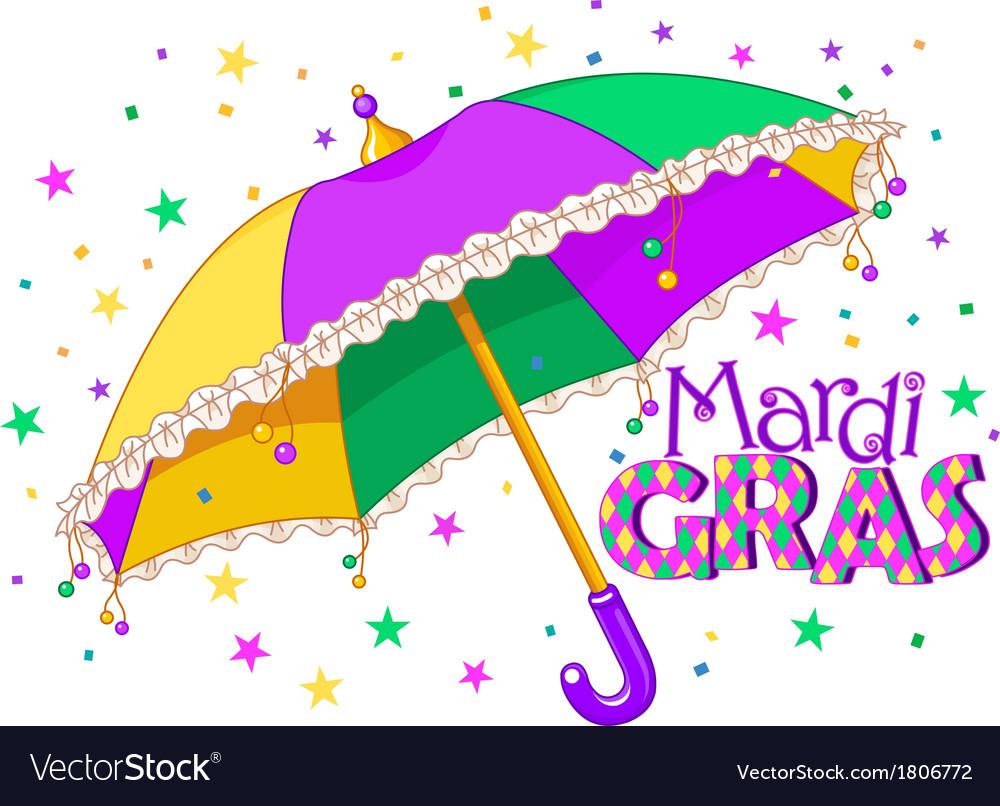 Mardi Gras umbrella vector image