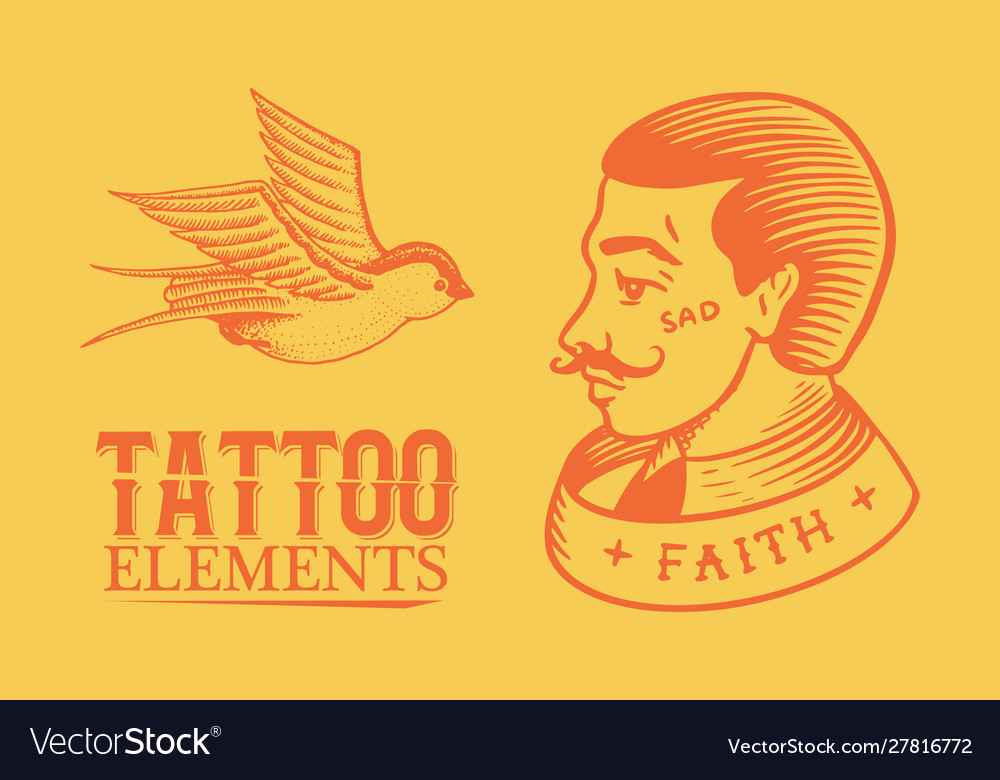Old school tattoo man and swallow on a yellow