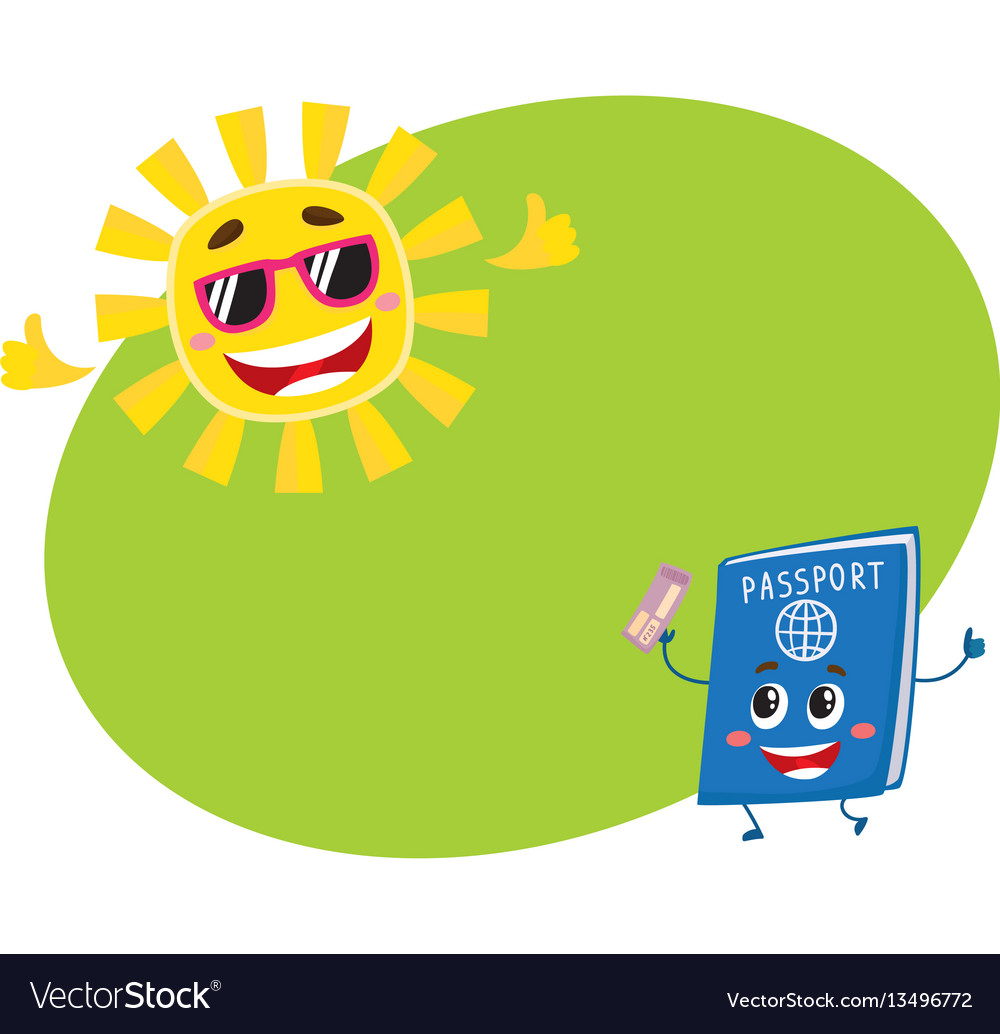 Passport and sun characters symbolizing vacation