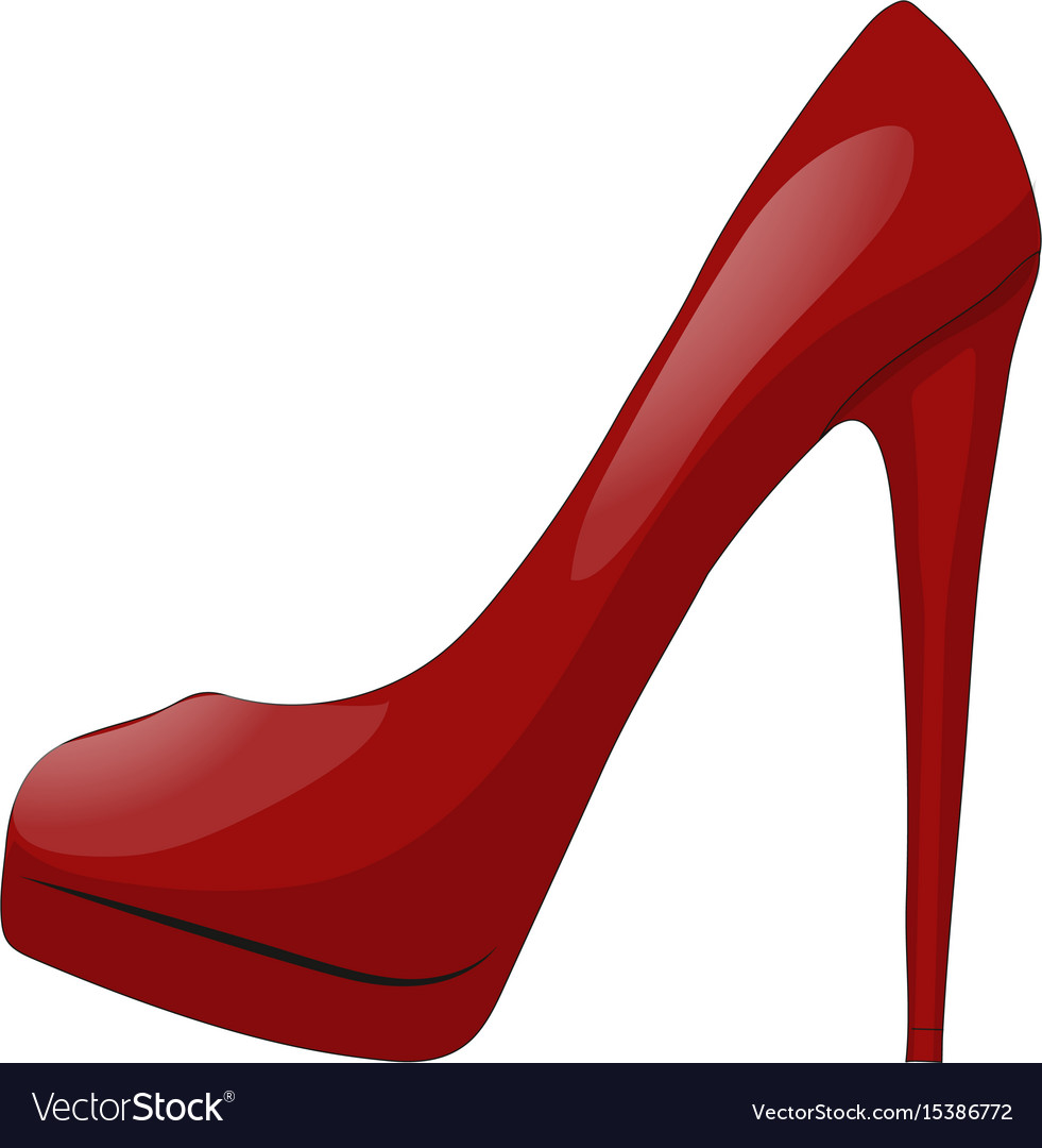 Red shoe with high heel isolated on white