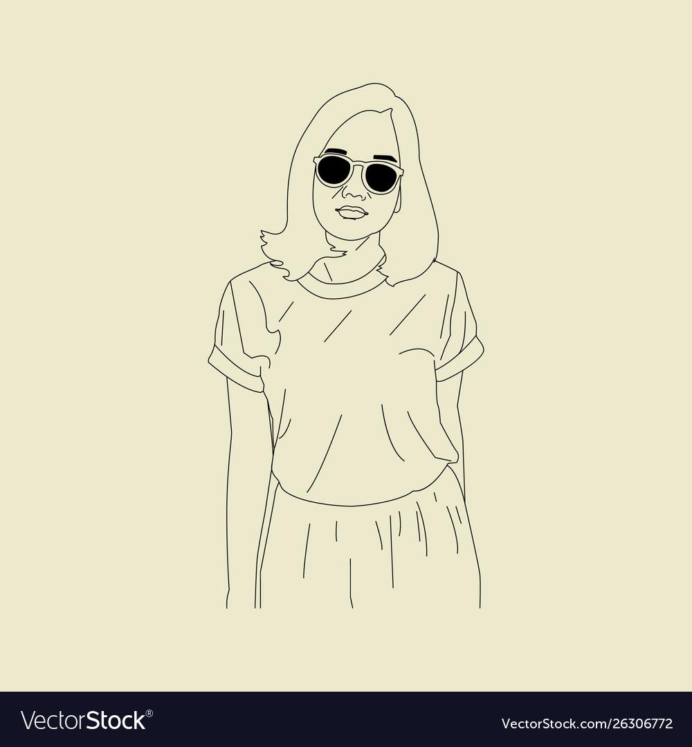 Sketch swag girl pose