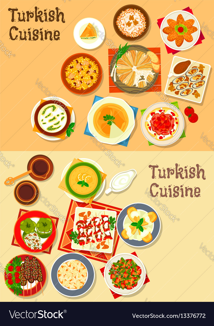 Turkish cuisine traditional dinner dishes icon vector image forumfinder Gallery