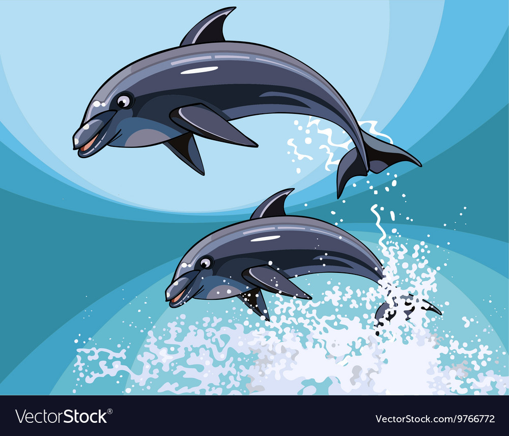 Two cartoon dolphins happily jumping in splashes