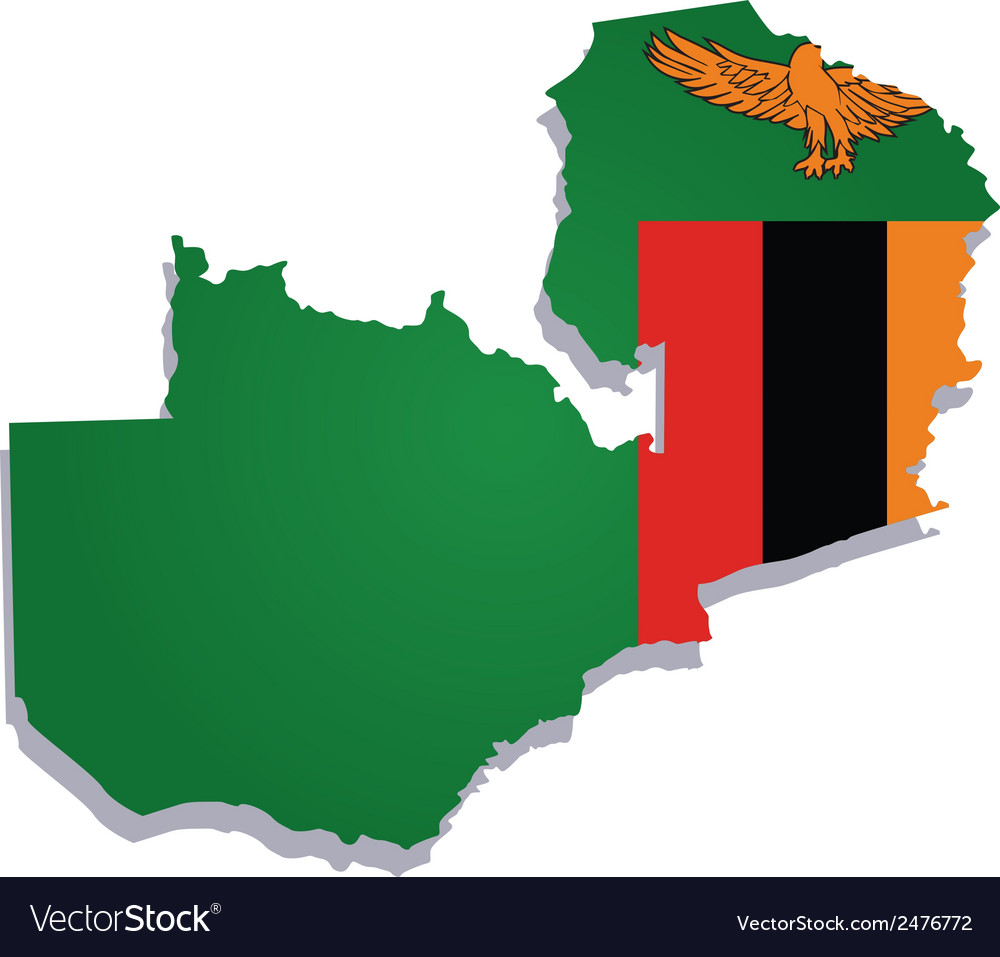 Zambia africa map flag Royalty Free Vector Image