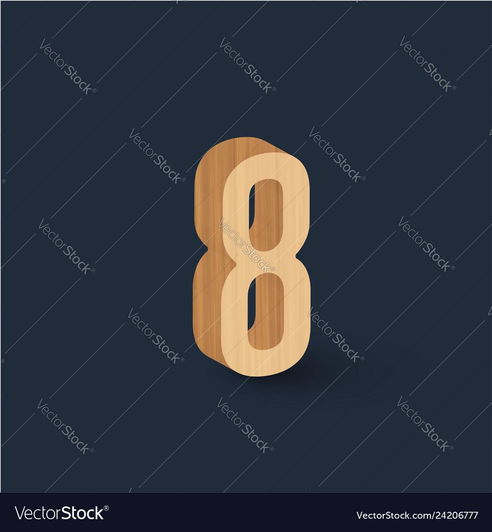 3d wood font character