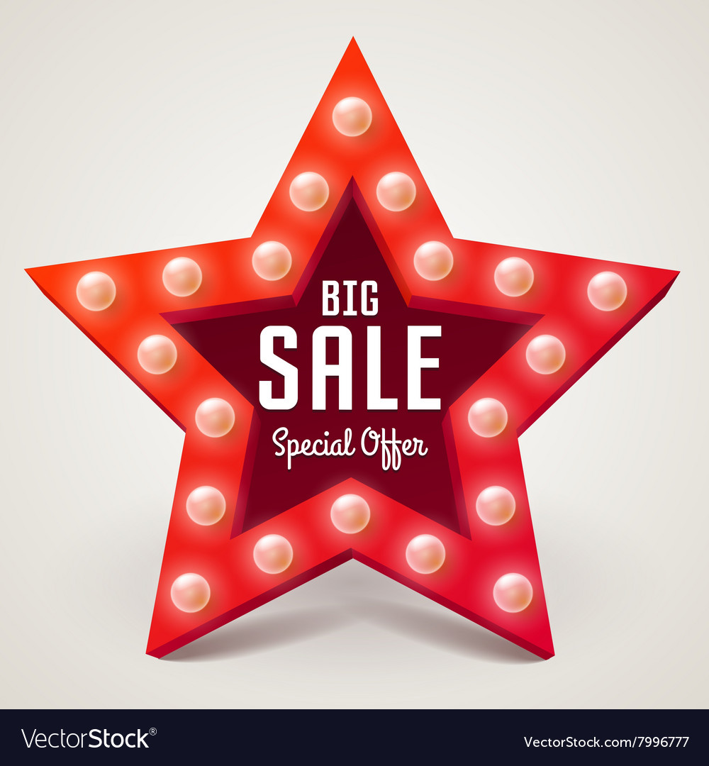 Big Sale retro light banner vector image