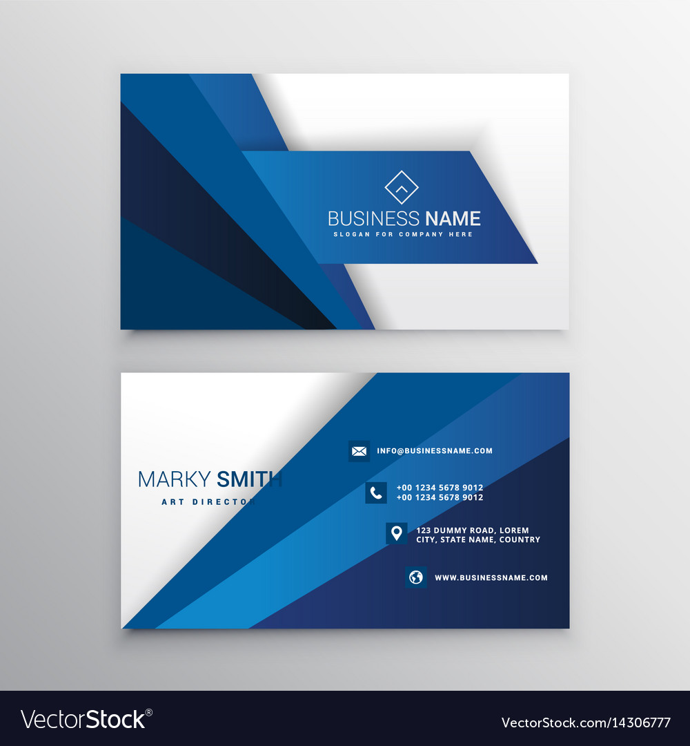 Blue and white corporate business card design vector image colourmoves