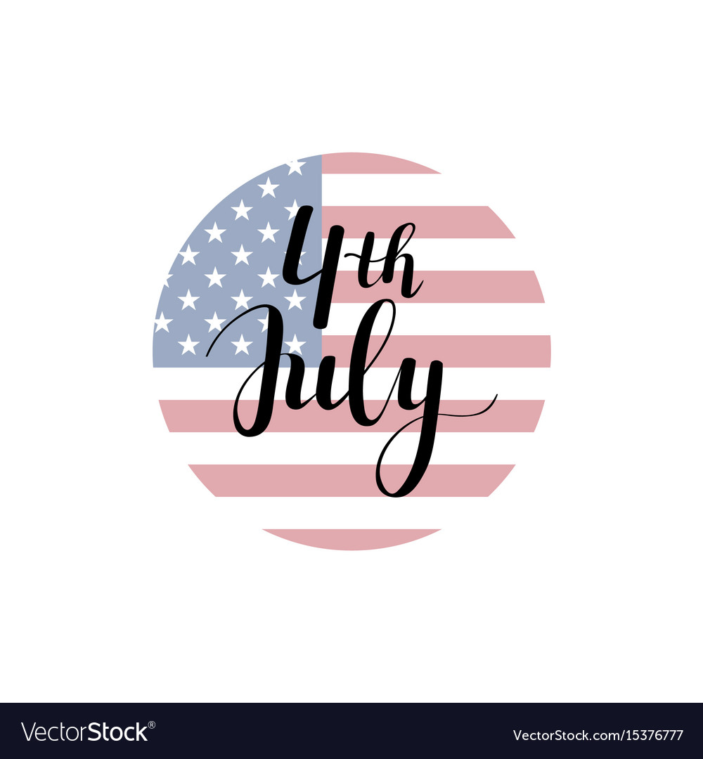 Calligraphy 4th of july celebration icons