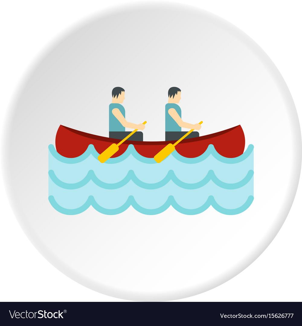 Canoe with two athletes icon circle