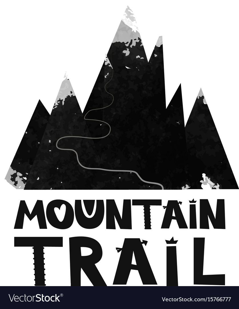 Card mountain trail to the top black and white