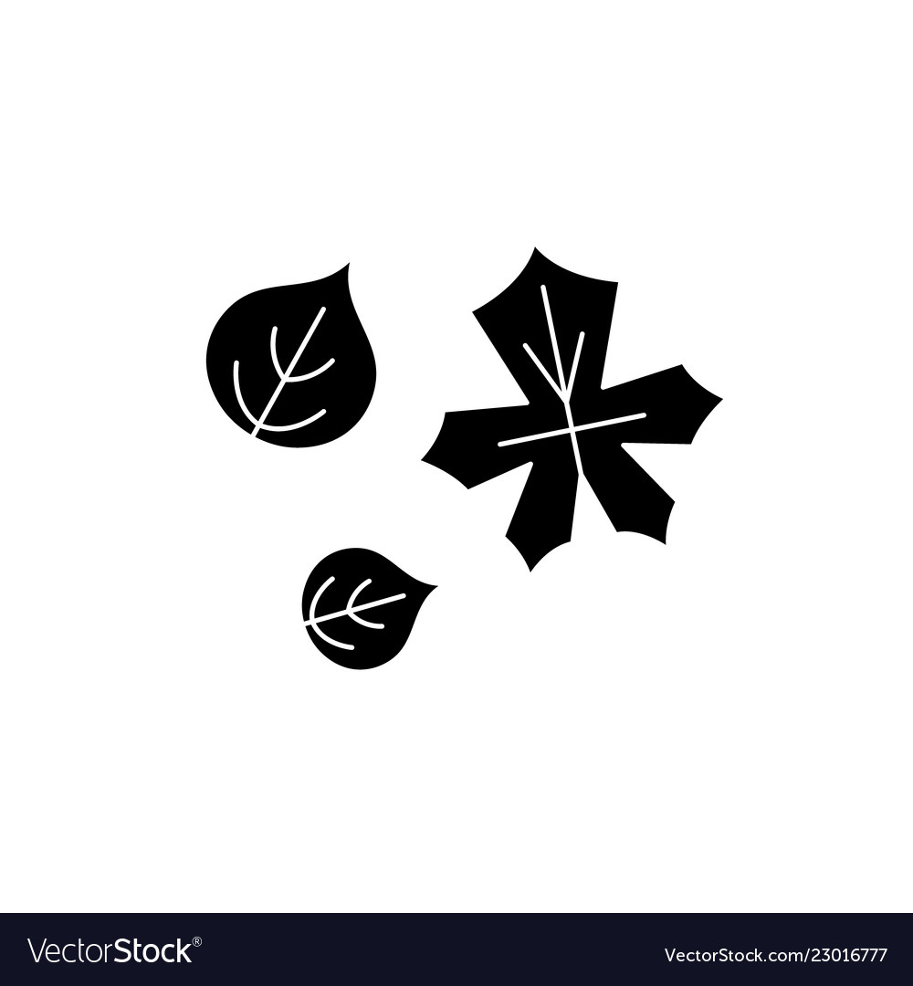 Cute autumn leaves black icon sign on
