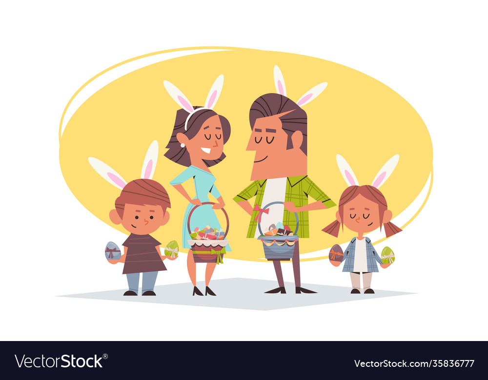 Cute family in rabbit ears holding baskets with