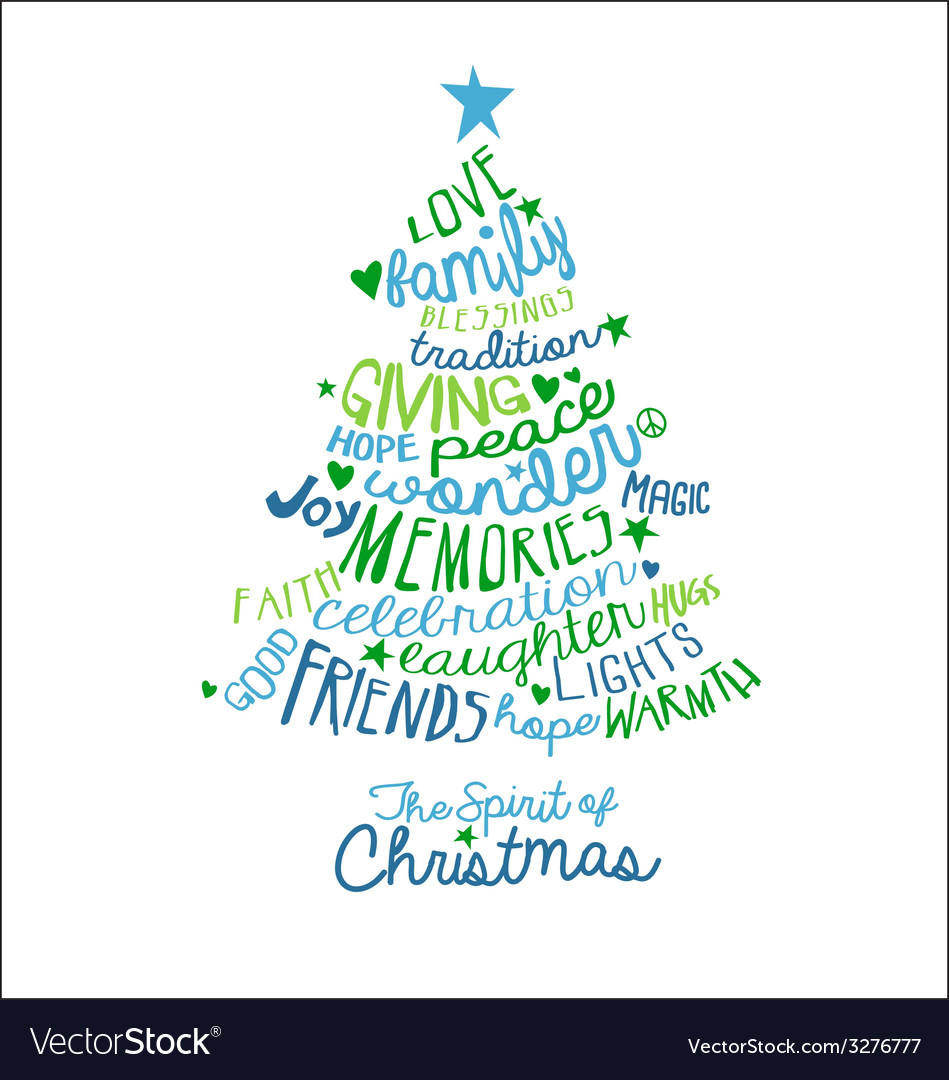 Handwritten Christmas Card Word Cloud tree design Vector Image