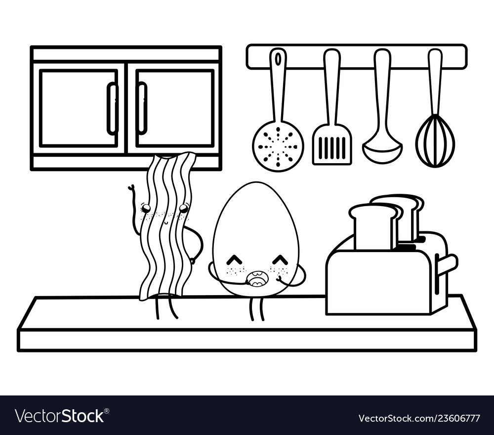 Kitchen Cute Cartoons Utensils Black And White Vector Image