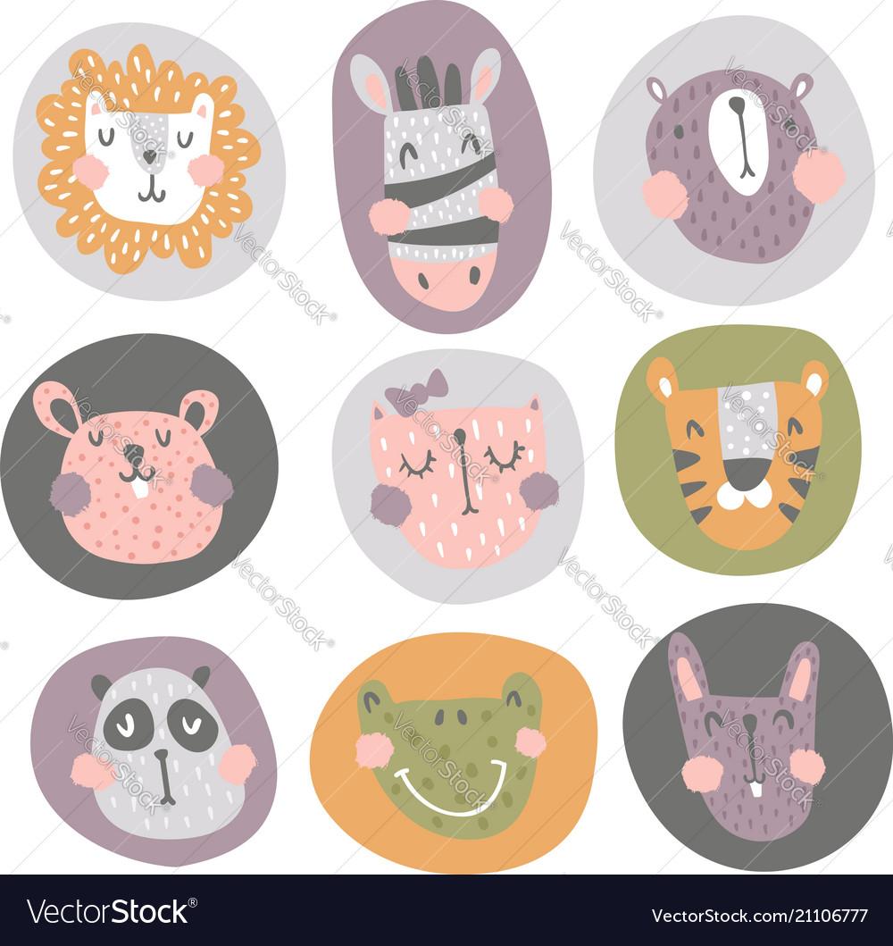 Nursery animals in circles