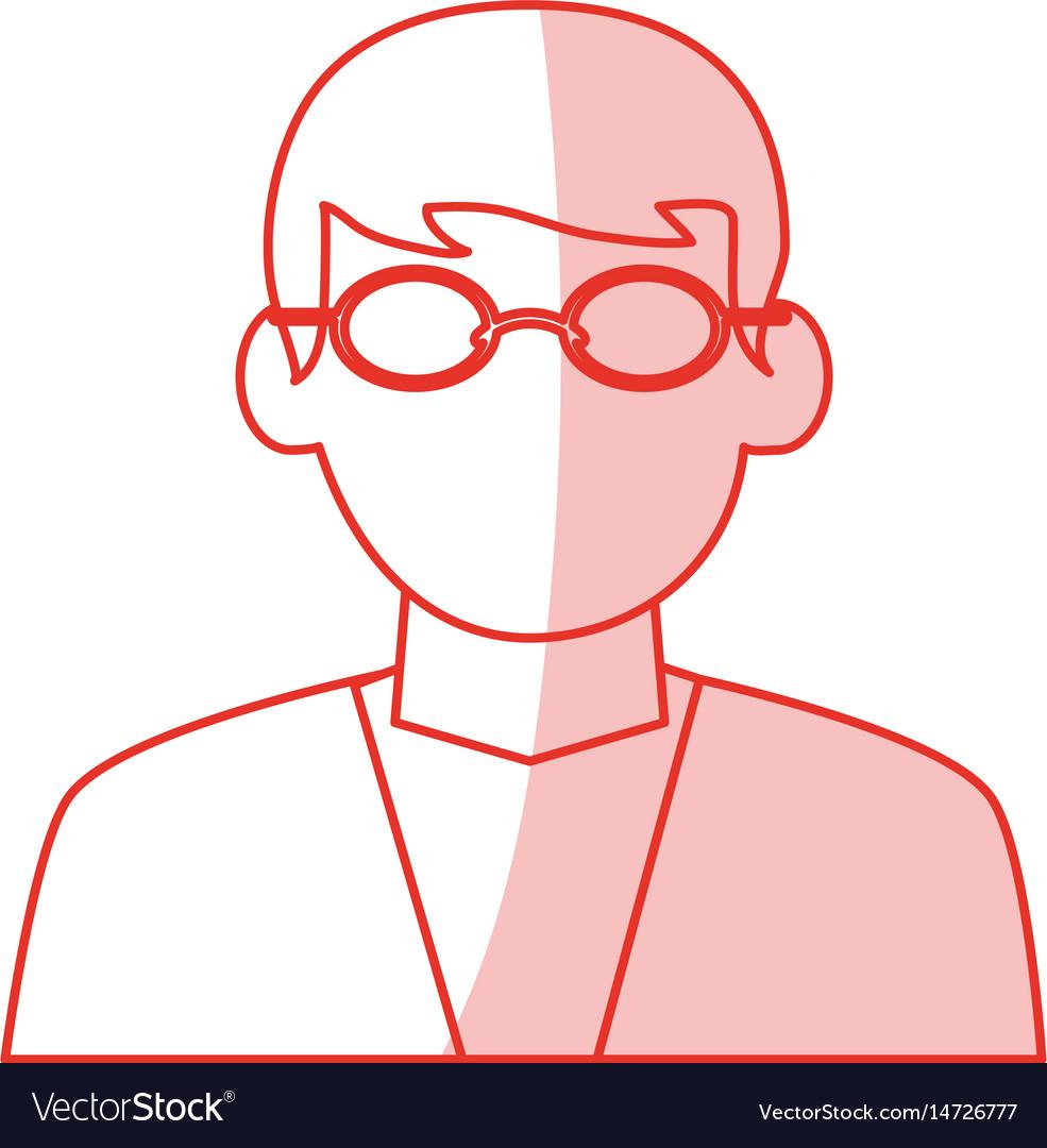 Red shading silhouette cartoon half body dentist vector image