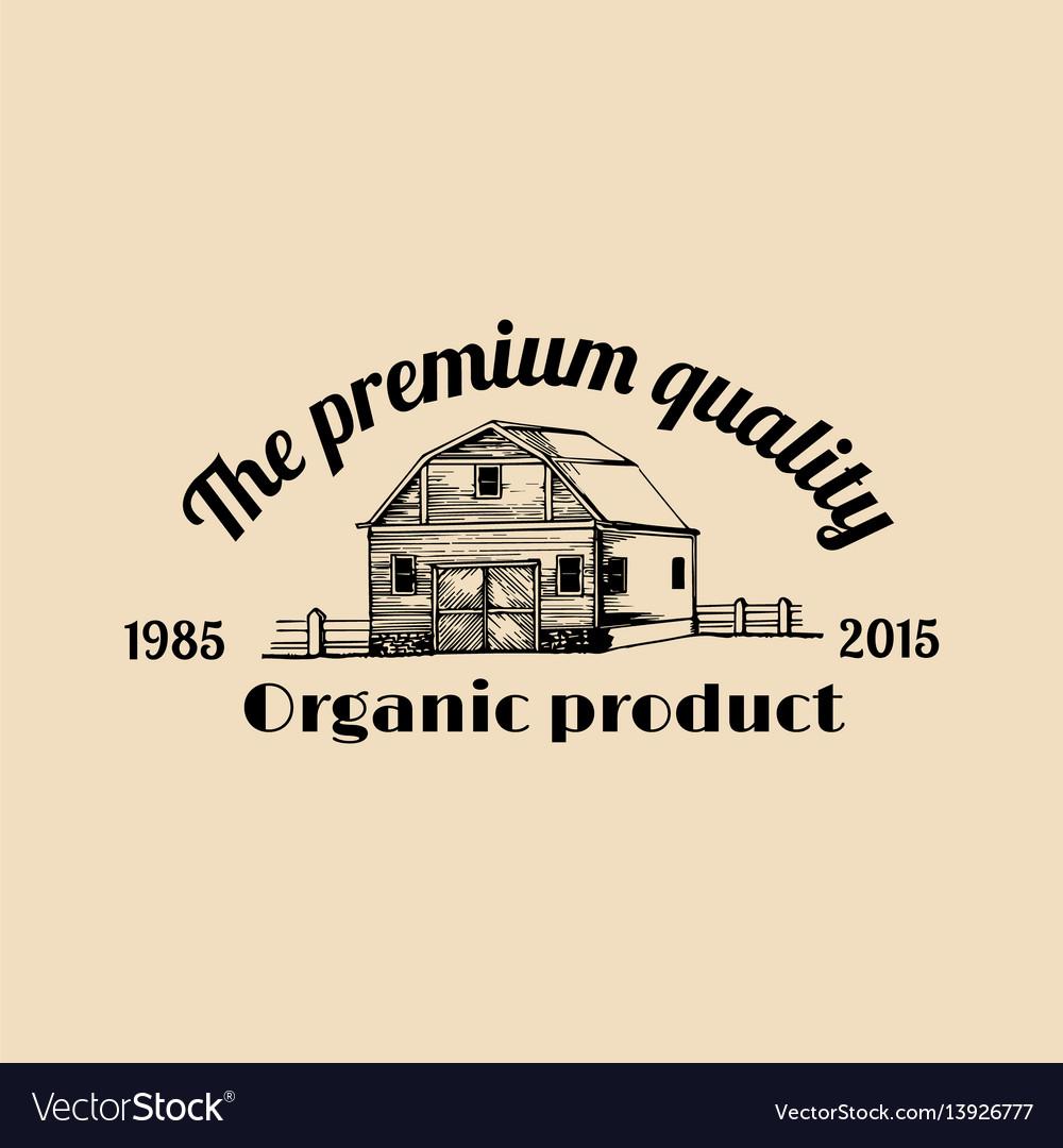 Retro farm fresh logotype organic premium