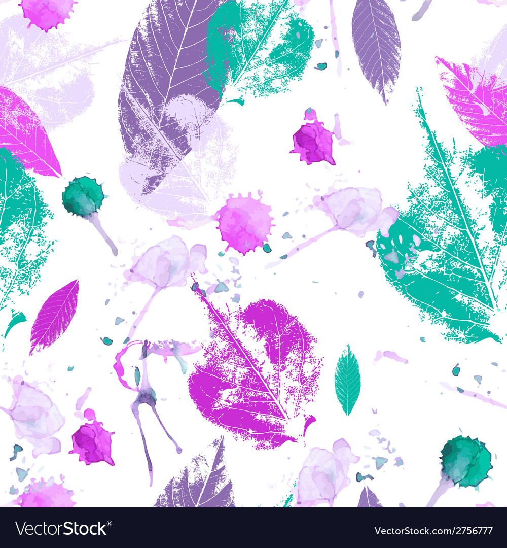 Seamless vintage leaves background vector image