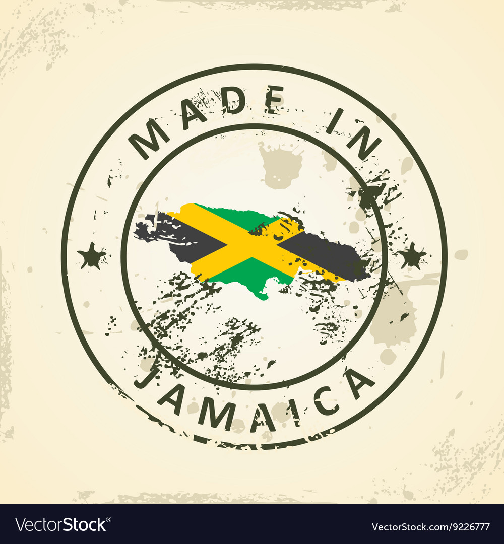 65839825f Stamp with map flag of Jamaica
