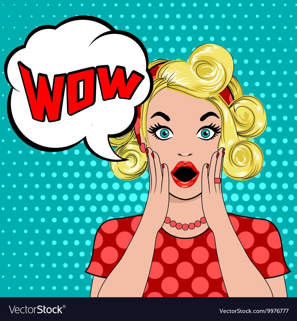 WOW bubble pop art surprised blond woman vector image