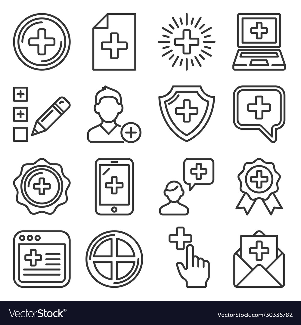 Add icons set on white background vector