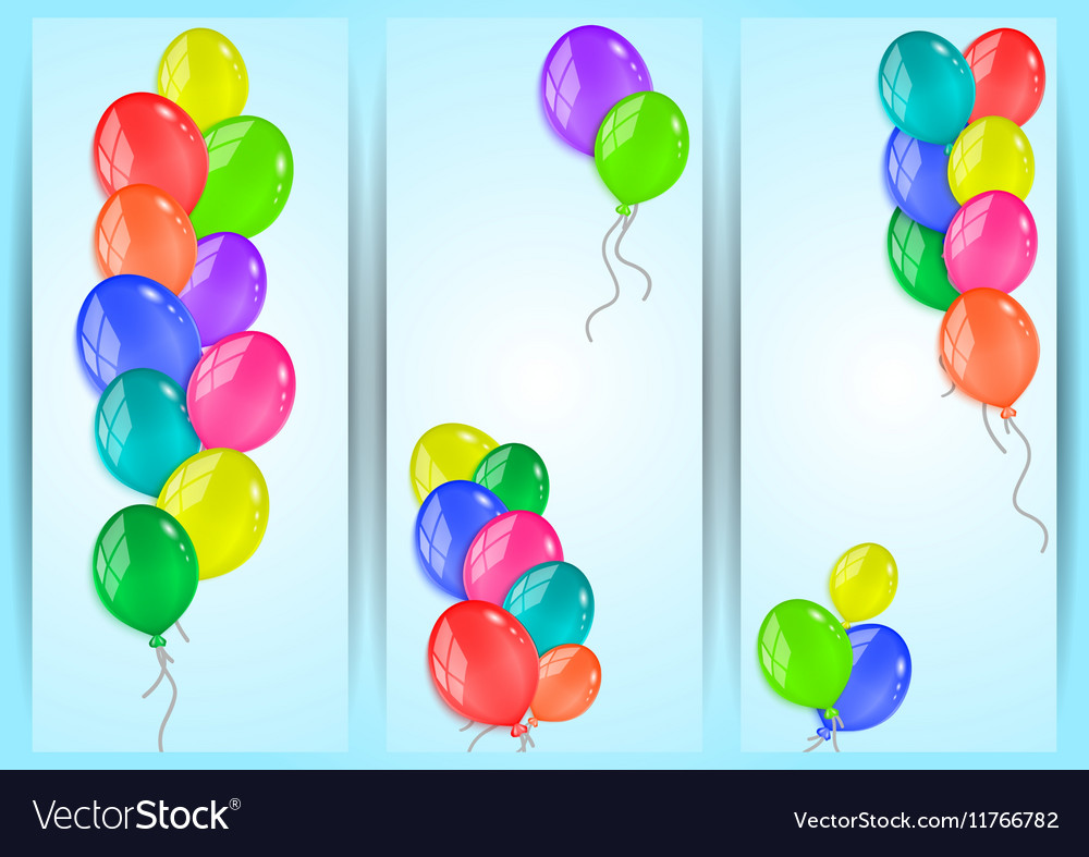 Banners with colorful balloons