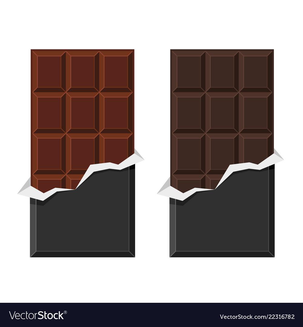Black and milk chocolate bar set on white