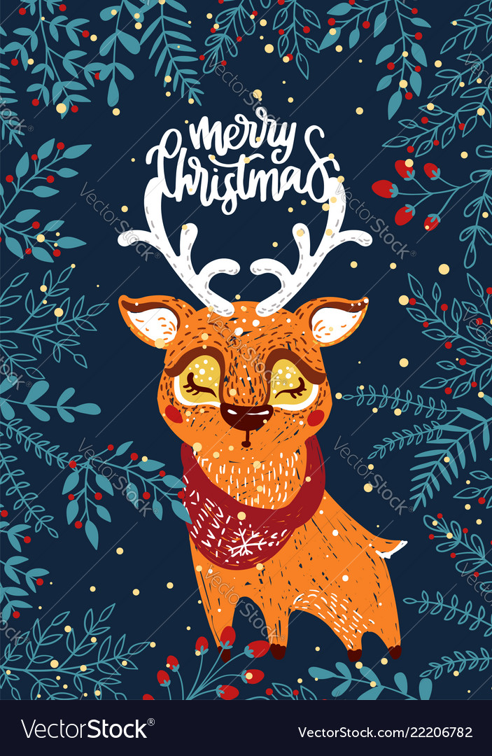 Christmas poster with deer