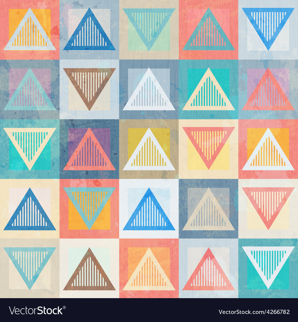 Colored triangle seamless pattern with grunge